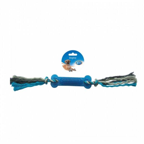 Duvo играчка въже с два възела и гумен кокал за кучета 45 см