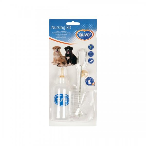 Duvo комплект за кърмене - шише с биберон и четка за малки кученца