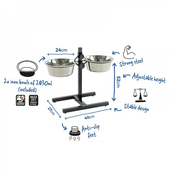 Duvo регулируема метална стойка за купи за кучета, 52 см