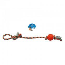 Duvo въже с дръжка и гумена топка за кучета, 60 см