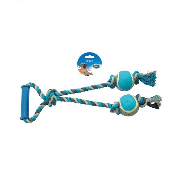 Duvo играчка за кучета - въже за дърпане с 2 тенис топки 43 см