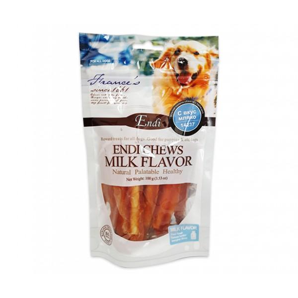 Endi Chews Milk Flavor-Млечно Лакомство за куче с вкус на пиле  8см / 7бр - 100 гр.