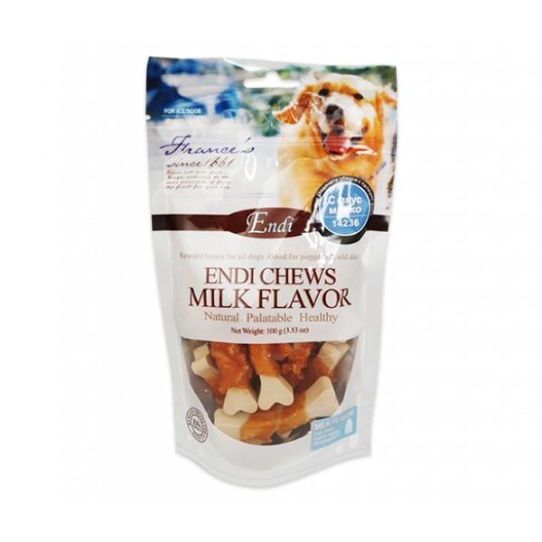 Endi Chews Milk Flavor-Млечни кокалчета-Лакомство за куче с вкус на пиле - 100 гр.