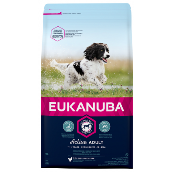 Eukanuba Active Adult Medium Breeds Еукануба Храна за Кучета от Средни Породи за Възрастни над 1 год. 15 + 3кг. ПОДАРЪК