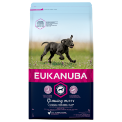 Eukanuba Growing Puppy Еукануба Храна за кученца от Едри Породи с Пилешко  15 + 3кг. ПОДАРЪК