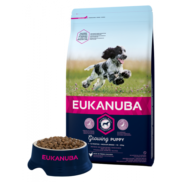 Eukanuba Growing Puppy for Medium Breeds Еукануба Храна за Кученца от Средни Породи