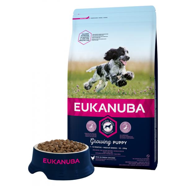 Eukanuba Growing Puppy for Medium Breeds Еукануба Храна за Кученца от Средни Породи 15 + 3кг. ПОДАРЪК