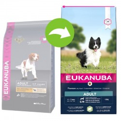 Eukanuba Дребни и Средни Породи Възрастни над 1 год. Агнешко и Ориз - Промоция 7,5 кг + 2,5 кг подарък