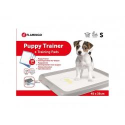 FLAMINGO PUPPY TRAINER Комплект кучешка тоалетна/поставка за пелени + 10 бр. пелени за кученца