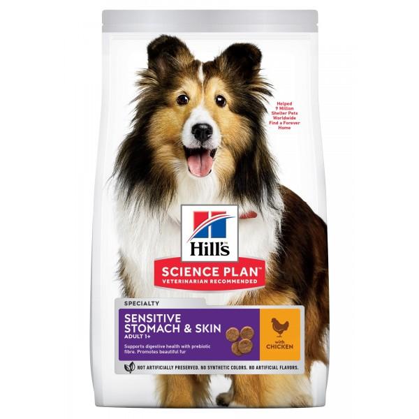 Hill's Science Plan Adult Sensitive Stomach & Skin – Пълноценна суха храна за кучета над 1 година с чувствителен стомах и чувствителна кожа.