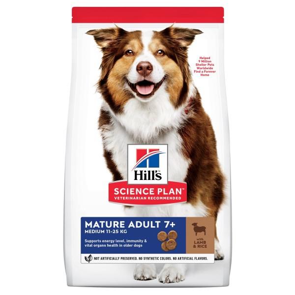 Hill's Science Plan Canine Mature Medium Adult с агнешко и ориз - Пълноценна суха храна за кучета от средни породи в напреднала възраст (11-25 кг, над 7г.)
