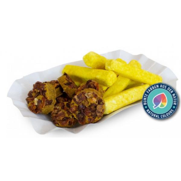 JR Farm Храна за кучета във формата на къри, наденица с пържени картофи