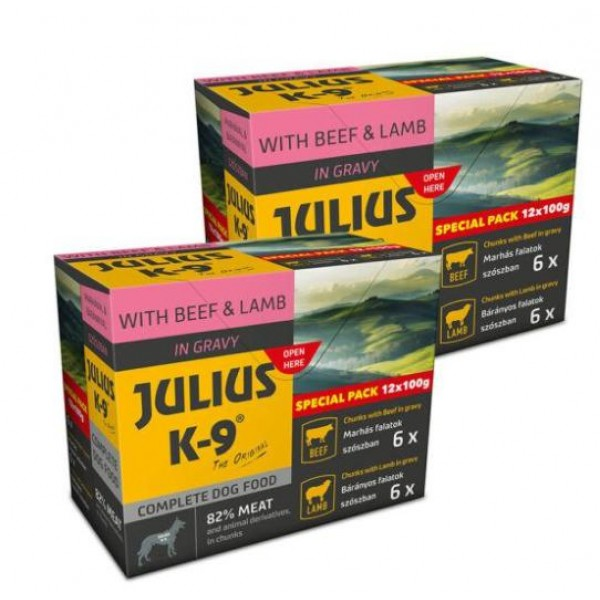 Julius-K9 Special Pack – паучове с говеждо и агнешко, 12бр. х 100гр