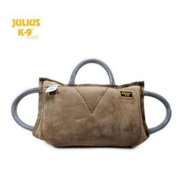 Julius-K9 - Възглавничка от кожа за хапане за кучета с 3 дръжки  35 x 20 x 6.4 см