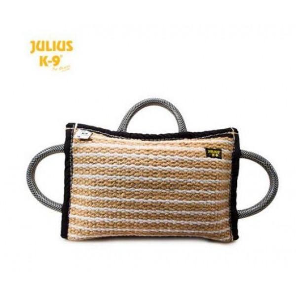 Julius-K9 - Възглавничка юта от кожа за хапане за кучета с 3 дръжки  35 x 20 x 6.4 см