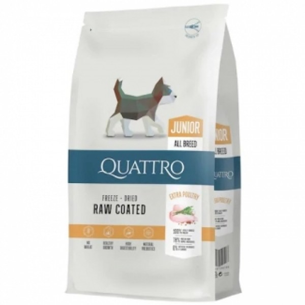 Quattro Junior All Breed - пълноценна храна, подходяща за подрастващи кученца от 2 до 12 месеца - 7 кг.