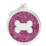 My Family - блестящ медальон във формата на розов кръг с лапичка