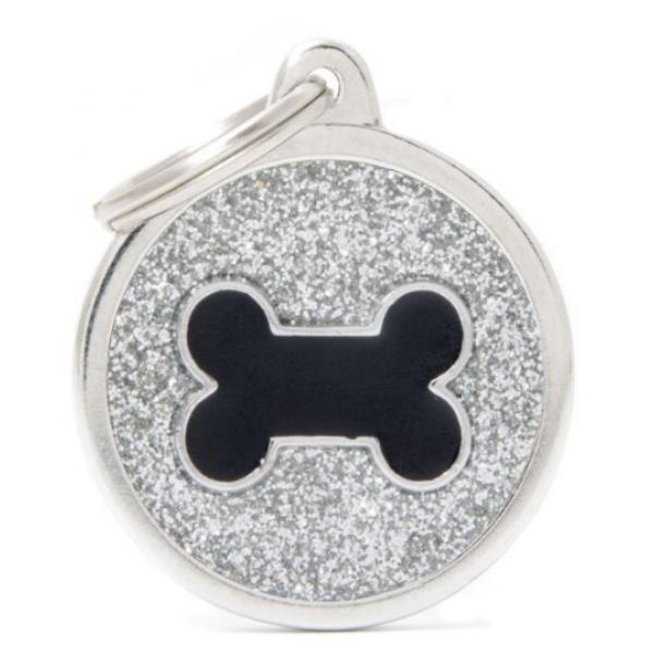 My Family - блестящ медальон във формата на сив кръг с лапичка