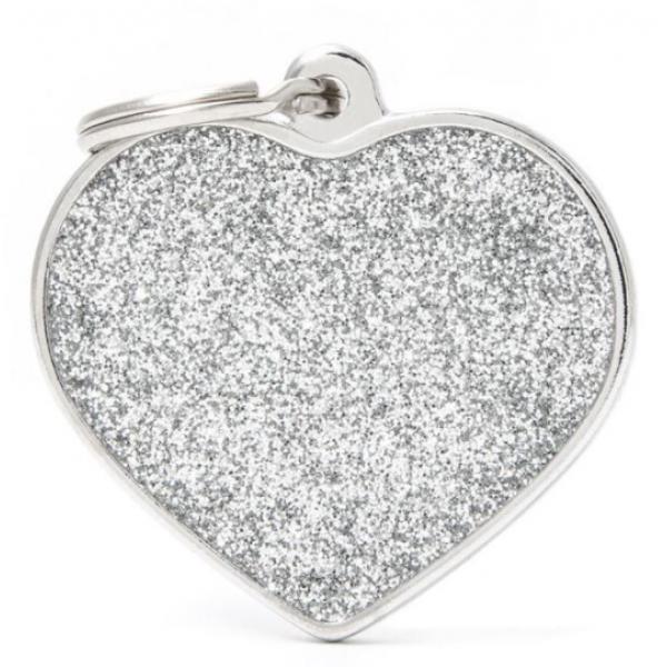 My Family - блестящ медальон във формата на сиво сърце