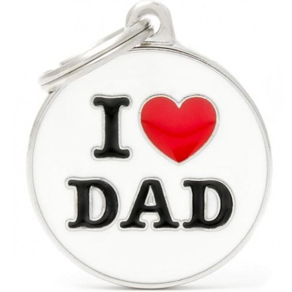 My Family - медальон във формата на кръг 'I love dad'