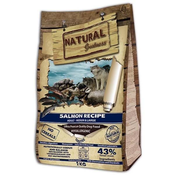 NATURAL Greatness Salmon Recipe Sensitive Adult Medium & Large - Рецепта Сьомга, за израстнали кучета от средни и големи породи