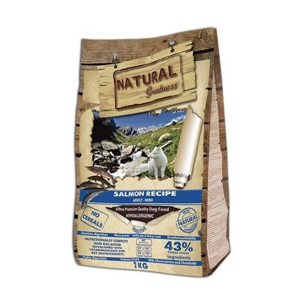 NATURAL Greatness Salmon Recipe Sensitive Adult Mini - Рецепта Сьомга, за израснали кучета от малки породи 2кг
