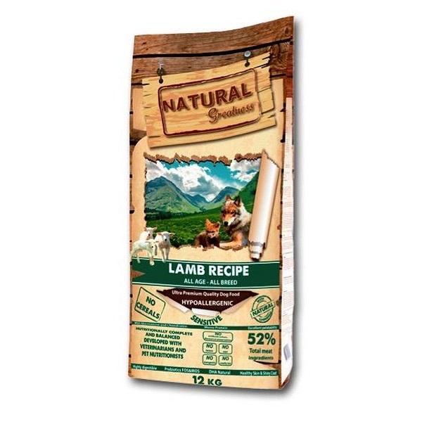 NATURAL Greatness Lamb Recipe Sensitive - рецепта с агне, за чувствителни кучета от всички възрасти и породи