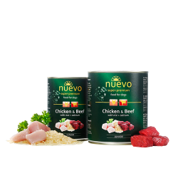 Nuevo Dog Junior Chicken and Beef with Rice and Calcium - с пилешко месо, говеждо месо, ориз и калции, за кучета от 1 до 12 месеца