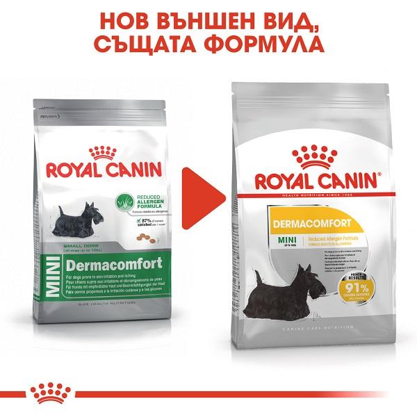 Royal Canin Mini Dermacomfort - Роял Канин Храна за кучета от Дребните Породи, Предразположени към Сърбежи и Раздразнения по Кожата