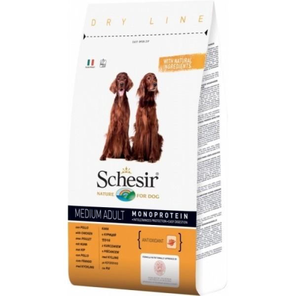 Schesir Adult Maintenance with Chicken Monoprotein - пълноценна храна с пилешко месо, за кучета над 12 месечна възраст