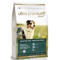 Ultra Premium Direct Sensitive Adult dog all breeds Lamb - Промоция 12кг + 4 пауча и 1 консерва подарък