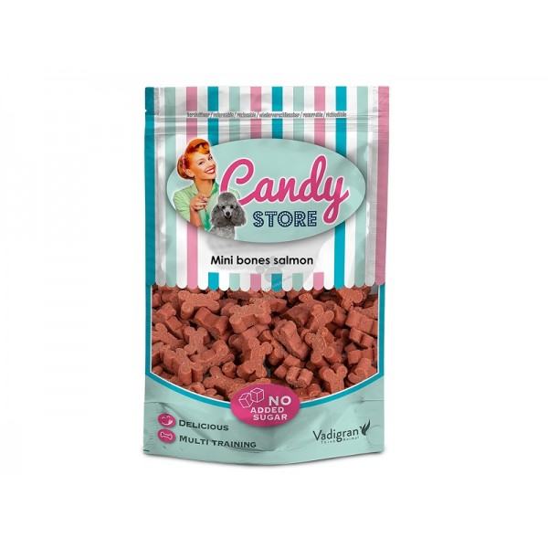 Vadigran Candy Mini Bones Salmon - лакомство за награда и обучение със сьомга